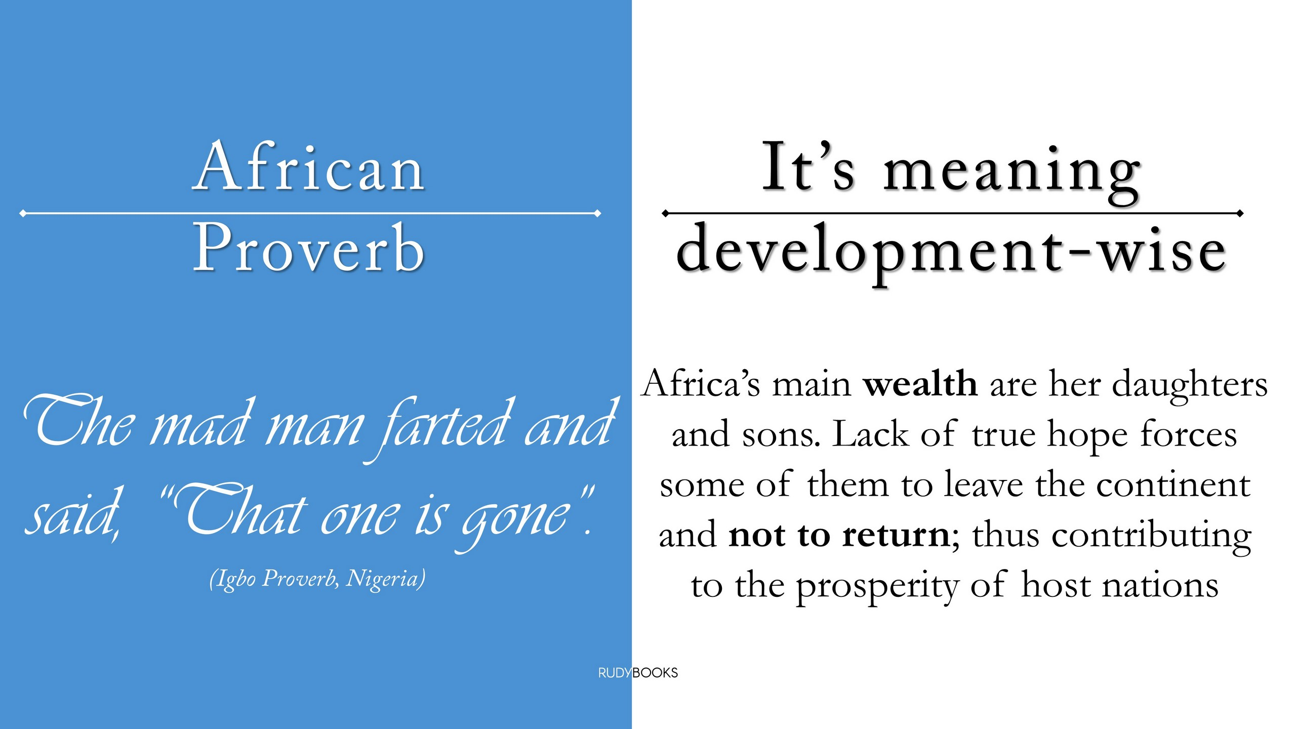 RudyBooks - African Proverbs and their Meaning Development